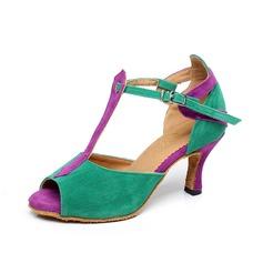 Kvinder Ruskind Hæle sandaler Latin med T-Strop Spænde Dansesko