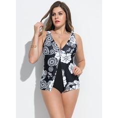 Elegant Floral Polyester Bikinis Swimsuit