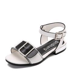 Fille de similicuir talon plat À bout ouvert Chaussures plates avec Velcro