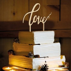 Love Design Wood Cake Topper (Set of 2)