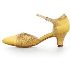 Kvinnor Satäng Glittrande Glitter Klackar Pumps Bal med Spänne Dansskor