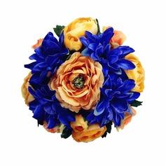 Attraktiv Mid Hand Gebunden/Rund Satin Brautjungfer Blumensträuße