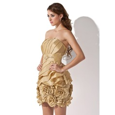 Sheath/Column Strapless Short/Mini Taffeta Homecoming Dress With Ruffle Beading Flower(s)