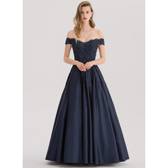 Ball-Gown Off-the-Shoulder Floor-Length Satin Prom Dresses With Beading Sequins (018138377)