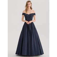 Gallakjole/Princess Off-shoulder Gulvlængde Satin Gallakjole med Perlebesat pailletter