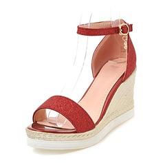 Femmes Pailletes scintillantes Talon compensé Escarpins Plateforme Compensée À bout ouvert avec Boucle chaussures