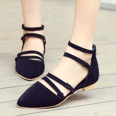 Women's Suede Flat Heel Sandals Flats Closed Toe With Buckle Lace-up shoes (086119361)