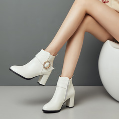 Suede Leatherette PU Chunky Heel Pumps Ankle Boots With Buckle shoes