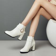 Ruskind Kunstlæder PU Stor Hæl Pumps Ankelstøvler med Spænde sko
