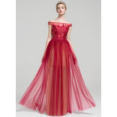 A-Line/Princess Off-the-Shoulder Floor-Length Tulle Evening Dress With Beading Sequins