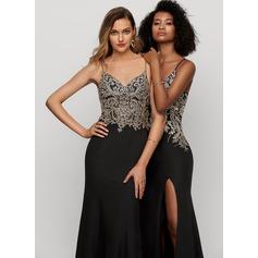 Trumpet/Mermaid V-neck Floor-Length Stretch Crepe Evening Dress With Beading