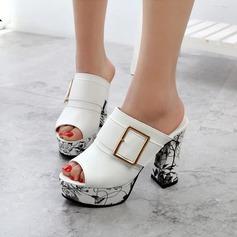 Women's PU Wedge Heel Sandals Pumps Platform Slippers With Buckle Jewelry Heel shoes
