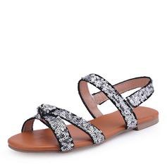 Mulheres Couro Sem salto Sandálias Sem salto Peep toe Sapatos abertos com Lantejoulas sapatos