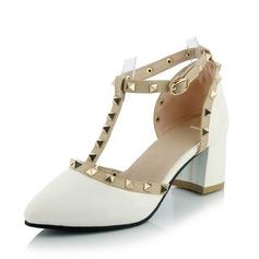 De mujer Cuero Tacón ancho Salón Cerrados zapatos