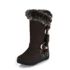 Suede Low Heel Mid-Calf Boots Snow Boots With Fur shoes
