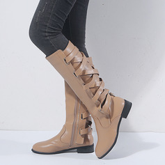 Women's PU Low Heel Mid-Calf Boots With Buckle shoes