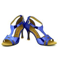 Femmes Similicuir Pailletes scintillantes Talons Latin avec Boucle Ouvertes Chaussures de danse