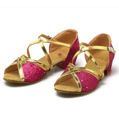 Vrouwen Kunstleer Sprankelende Glitter Sandalen Latijn met Gesp Hol-out Dansschoenen