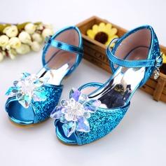 tytön Peep toe tekonahka Low Heel Sandaalit Flower Girl Kengät jossa Solki Tekojalokivi Kuohuviini glitteri