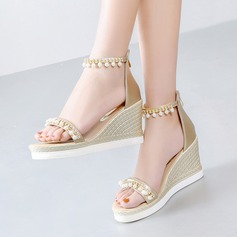 Women's Leatherette Wedge Heel Sandals Wedges Beach Wedding Shoes With Imitation Pearl Rhinestone Zipper