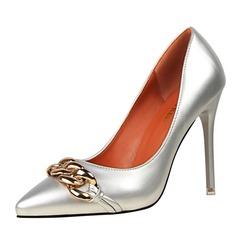 Femmes Cuir verni Talon stiletto Escarpins Bout fermé avec Chaîne chaussures