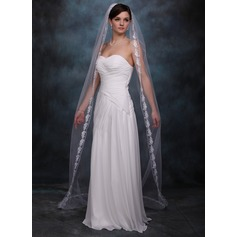 One-tier Lace Applique Edge Chapel Bridal Veils With Applique (006002241)