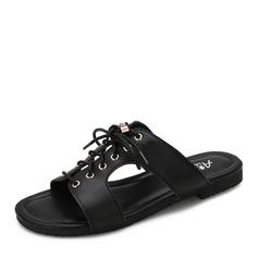 Femmes Cuir en microfibre Talon plat Sandales Chaussures plates À bout ouvert avec Dentelle chaussures