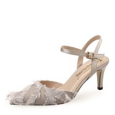 Kvinnor Plast Stilettklack Pumps Stängt Toe med Spänne skor