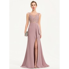 Trumpet/Mermaid Scoop Neck Sweep Train Stretch Crepe Evening Dress With Beading Sequins Split Front