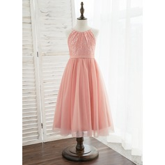 Áčkové Šaty Tříčtvrteční délka Flower Girl Dress - Tyl/Krajka Bez rukávů Scoop Neck