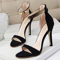 Femmes Suède Talon stiletto Sandales Escarpins À bout ouvert avec Paillette Zip chaussures