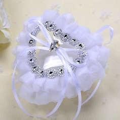 Rhinestone Heart Ring Pillow in Cloth With Ribbons/Rhinestones/Lace