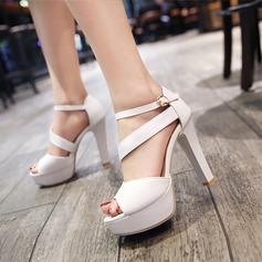 Женщины кожа Высокий тонкий каблук Сандалии На каблуках Платформа Открытый мыс с Другие обувь (087124605)