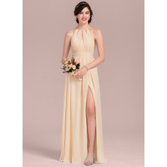 A-Line Scoop Neck Floor-Length Chiffon Wedding Dress With Ruffle Bow(s) Split Front