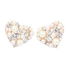 Amoureux Alliage/Pearl/Strass Dames Boucles d'oreilles