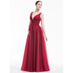 Vestidos princesa/ Formato A Decote V Longos Tule Vestido de festa com Pregueado Bordado lantejoulas
