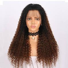4A Ej remy Curly Mänskligt hår Lace Front Parykar