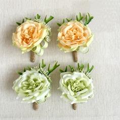Doce Seda artificiais Conjuntos de flores (conjunto de 2) - Buquê de pulso/Alfinete de lapela