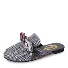 Femmes Tissu Talon plat Chaussures plates Bout fermé Escarpins Chaussons avec Bowknot chaussures
