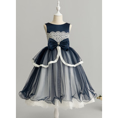 Robe Marquise/Princesse Longueur mollet Robes à Fleurs pour Filles - Tulle/Dentelle Sans manches Col rond avec Brodé