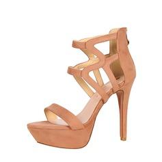 Kvinnor Mocka Stilettklack Sandaler Pumps Plattform Peep Toe med Zipper Ihåliga ut skor