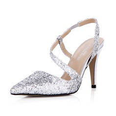 Mulheres Espumante Glitter Salto agulha Fechados Bombas Sapatos abertos