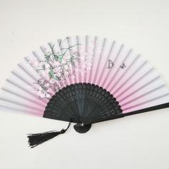 Design floral Bambu/Linho Ventilador de mão