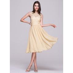 Vestidos princesa/ Formato A Decote redondo Coquetel De chiffon Vestido de boas vindas com Apliques de Renda