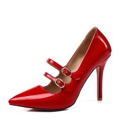 Femmes Cuir verni Talon stiletto Escarpins Bout fermé avec Boucle Dentelle chaussures