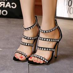 De mujer Ante Tacón stilettos Sandalias Encaje con Rhinestone Cremallera zapatos
