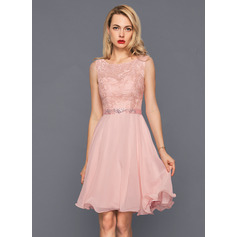 A-Line/Princess Scoop Neck Knee-Length Chiffon Cocktail Dress With Beading Sequins (016140359)
