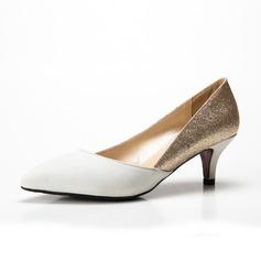 Kvinnor Mocka Glittrande Glitter Låg Klack Pumps Stängt Toe skor