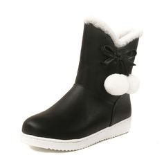 Women's Leatherette Flat Heel Closed Toe Boots Mid-Calf Boots Snow Boots With Bowknot Fur shoes