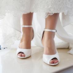 Kvinder Blonder Satin Stiletto Hæl Kigge Tå Pumps sandaler Sko Som Kan Farves